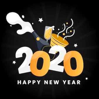 Año nuevo 2020 en estilo plano