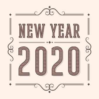 Año nuevo 2020 en estilo vintage