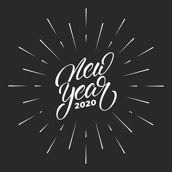 Año nuevo 2020, etiqueta de caligrafía de letras para la celebración del año nuevo