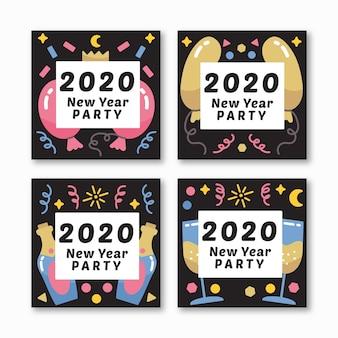 Año nuevo 2020 fiesta instagram post set