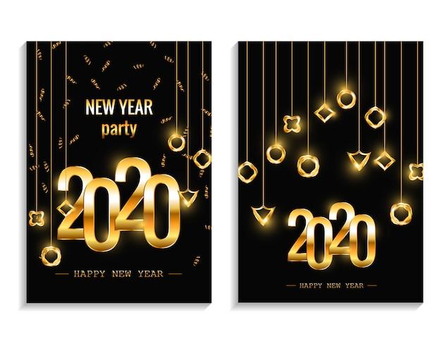 Año nuevo 2020 fiesta invitación carteles o conjunto de volante. invitaciones navideñas con decoraciones geométricas plantilla vectorial