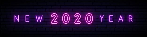 Año nuevo 2020 letrero de neón.