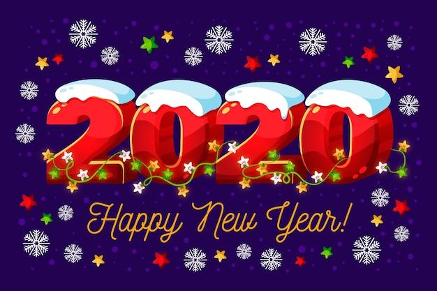 Año nuevo 2020 con nieve y luces de cuerda