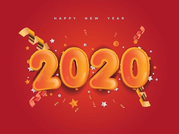 Año nuevo 2020 con números dorados, confeti de festivales, estrellas y cintas espirales sobre fondo rojo.
