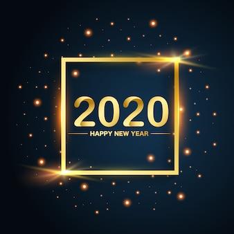 Año nuevo 2020 oro cuadrado brilla sobre fondo azul