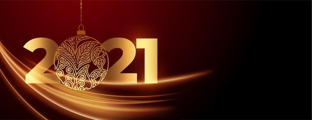 Año nuevo 2021 con banner de celebración de adorno.