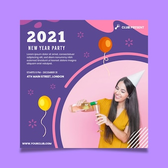Año nuevo 2021 flyer square