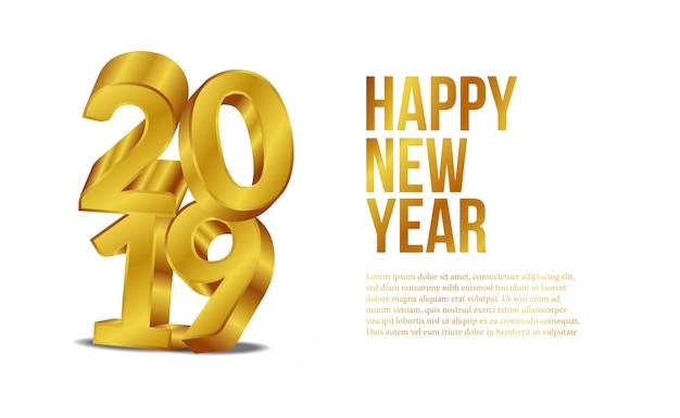 Año nuevo con 3d número dorado