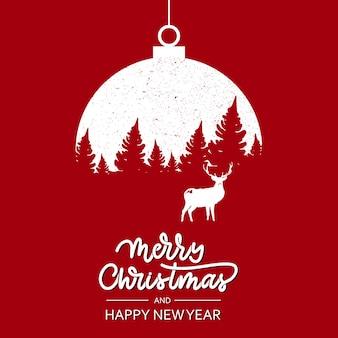 Año nuevo banner árbol de navidad con un ciervo en un árbol de navidad de juguete.