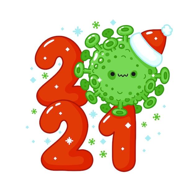 Año nuevo con la célula del virus covid