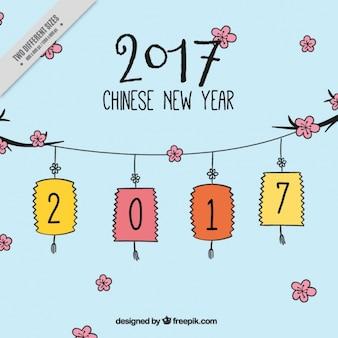 Año nuevo chino 2017, dibujado a mano