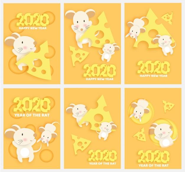 Año nuevo chino 2020 año de la rata en corte de papel y estilo artesanal.