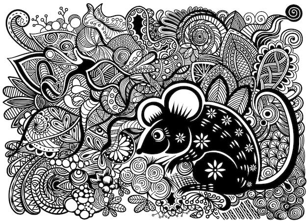 Año nuevo chino 2020 año de la rata, personaje de rata cortada en papel, flores y elementos asiáticos con estilo artesanal en el fondo.