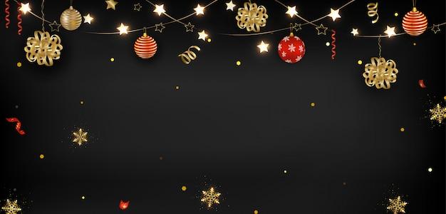 Año nuevo chino 2020. bolas de navidad, linternas, serpentinas, confeti, destellos.