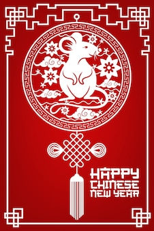 Año nuevo chino corte de papel rata