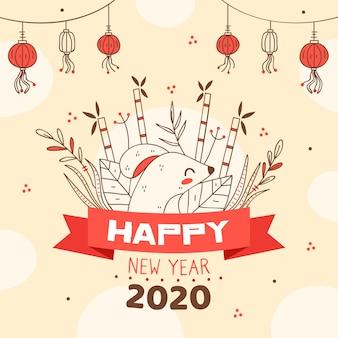 Año nuevo chino dibujado a mano