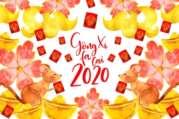 Año nuevo chino estilo acuarela con flores
