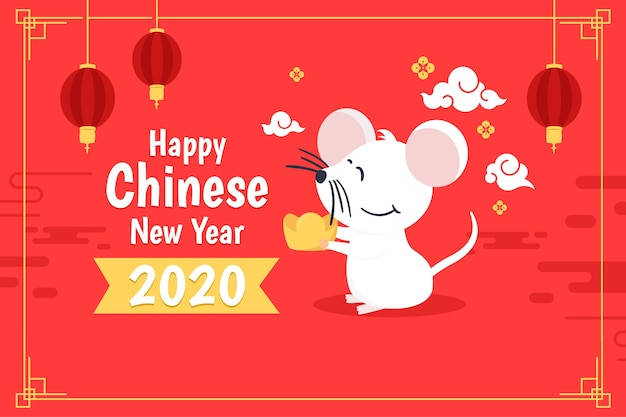 Año nuevo chino plano en tonos rojos