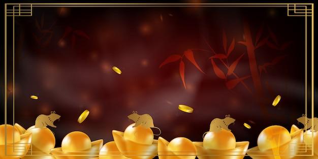 Año nuevo chino rata signo del zodiaco. fondo festivo rojo y oro con rata.