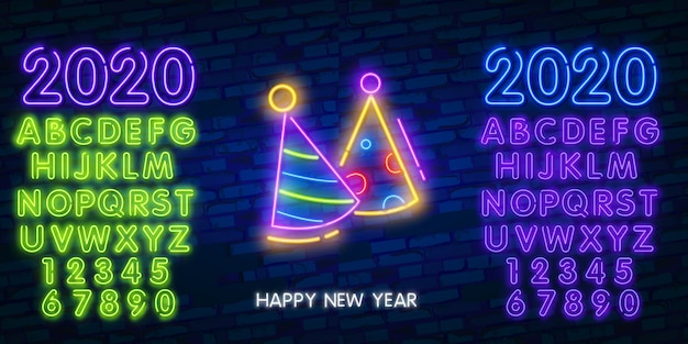 Año nuevo cono de sombrero de neón, fuegos artificiales y signo del alfabeto