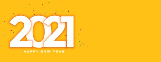 Año nuevo creativo 2021 con banner amarillo de confeti.