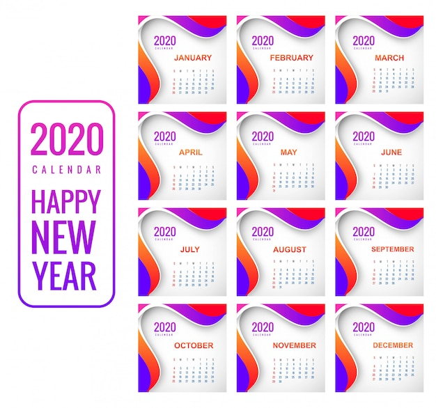 Año nuevo creativo colorido calendario 2020 fondo