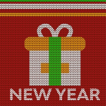Año nuevo con diseño de cartel de caja de regalo en tejido de punto textil