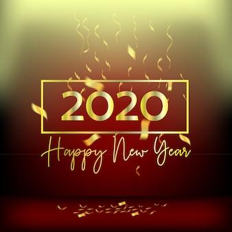 Año nuevo diseño rojo cortinas y cintas doradas.