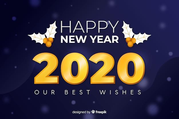 Año nuevo dorado 2020 con muérdago