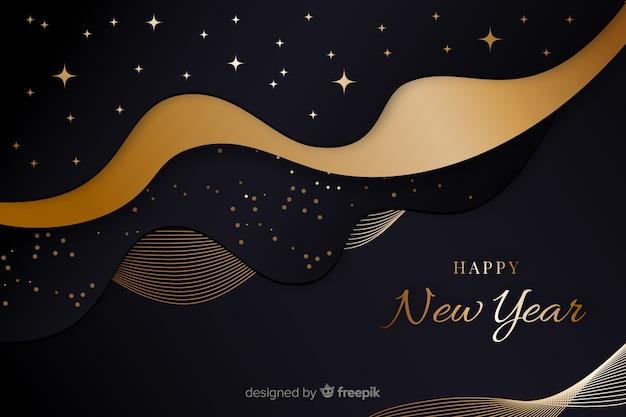 Año nuevo dorado 2020 y noche estrellada