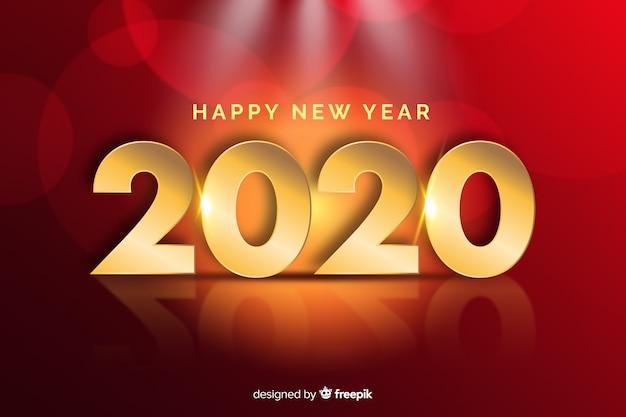 Año nuevo dorado realista 2020 y letras de feliz año nuevo