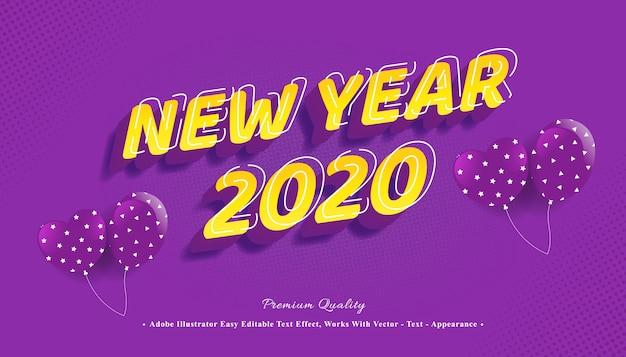 Año nuevo efecto de estilo de texto 3d