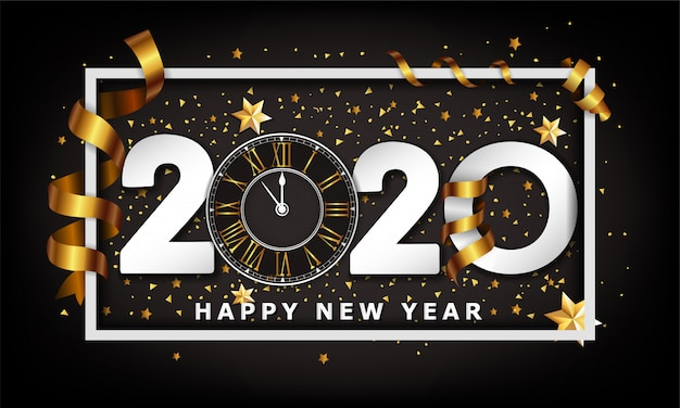 Año nuevo fondo creativo tipográfico 2020 con reloj
