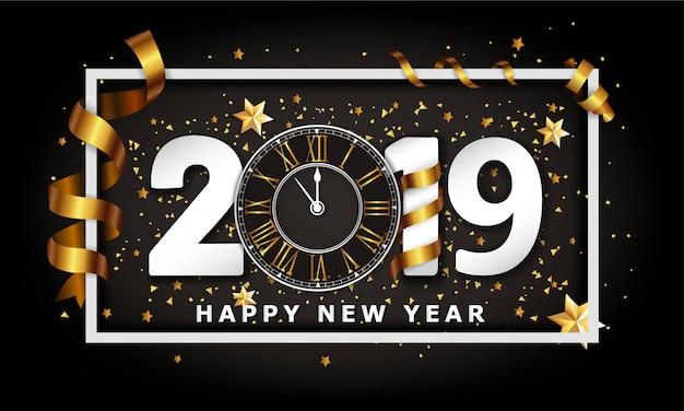Año nuevo fondo tipográfico 2019 con reloj