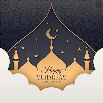Año nuevo islámico en estilo papel