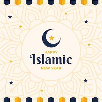 Año nuevo islámico con estrellas y luna creciente