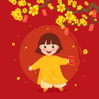 Año nuevo lunar niño en ropas tradicionales