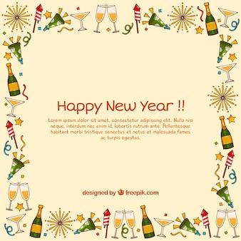 Año nuevo con marco dibujado a mano