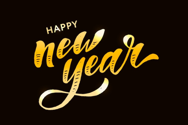 Año nuevo navidad letras caligrafía pegatina oro