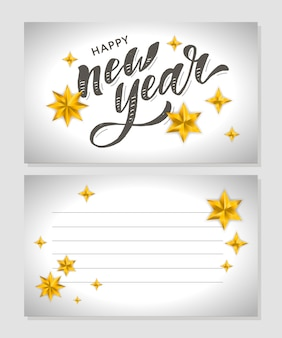 Año nuevo navidad letras caligrafía pincel texto vacaciones etiqueta oro ilustración