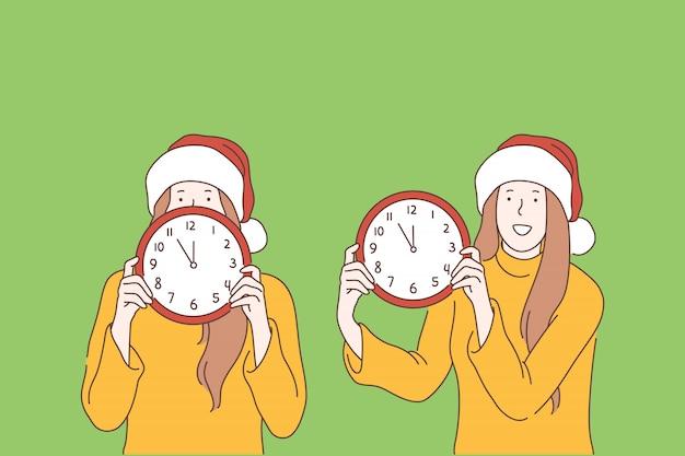 Año nuevo, navidad, tiempo, concepto de víspera de vacaciones