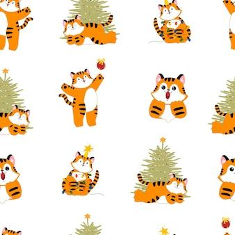 Año nuevo navidad tigre de patrones sin fisuras dibujos animados lindo gato depredador león con un árbol de navidad