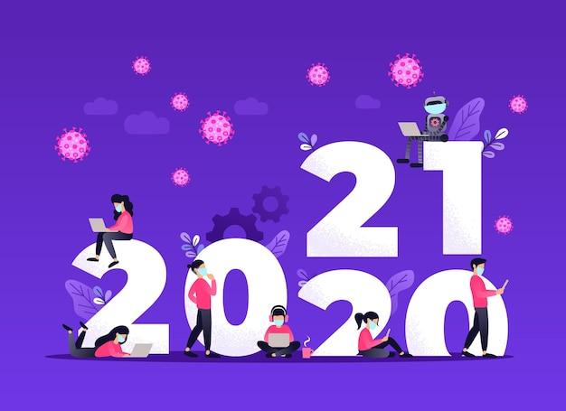 Año nuevo con el nuevo concepto de ideas de estilo de vida.