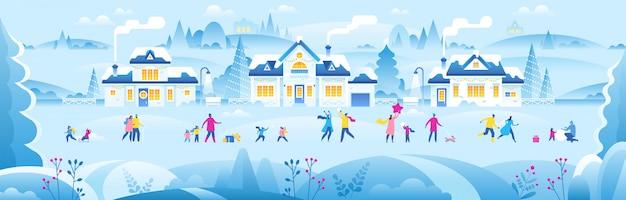Año nuevo o navidad pequeño pueblo con gente pequeña