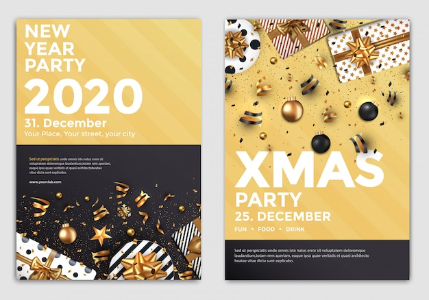 Año nuevo party flyer dorado