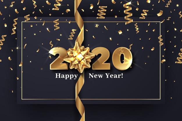 Año nuevo realista 2020 con concepto de papel tapiz de arco de regalo