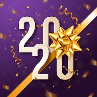 Año nuevo realista 2020 con papel tapiz de lazo de regalo
