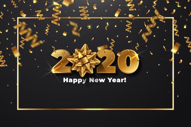 Año nuevo realista 2020 con tema de fondo de pantalla de arco de regalo