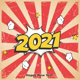 Año nuevo retro, postal de cómic de vacaciones o tarjeta de felicitación.