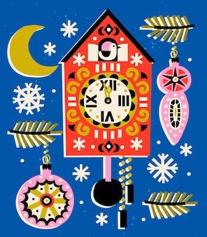 Año nuevo vbackground con reloj de cuco.
